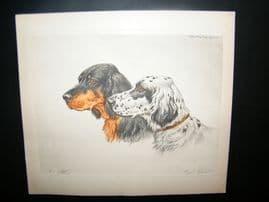 Paul Wood C1935 Signed Colour Etching. Setters. Dog Print