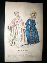 Petit courrier des dames 1837 Antique Hand Col Fashion Print. #1319