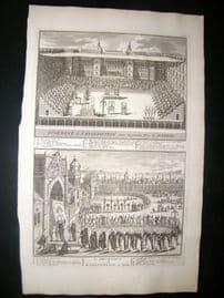 Picart C1730 Antique Print. Religious. Spanish & Goa Inquisition. Spain, India