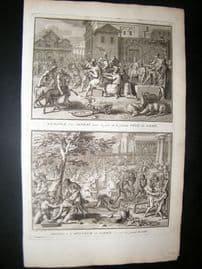 Picart C1730 Folio Antique Print. Feast & Sacrifice, Peru