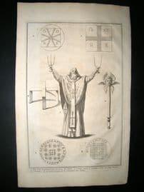 Picart C1730 Folio Antique Print. Greek Priest & Artefacts, Greece