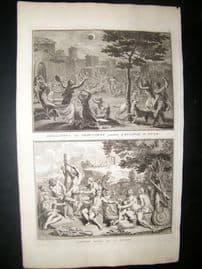 Picart C1730 Folio Antique Print. Luna Eclipse, Peru. Astronomy