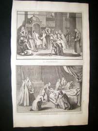 Picart C1730 Folio Antique Print. Religious Catholic Confession