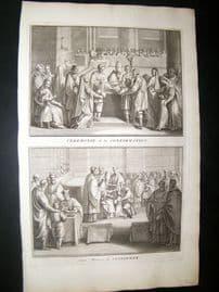 Picart C1730 Folio Antique Print. Religious Catholic Confirmation