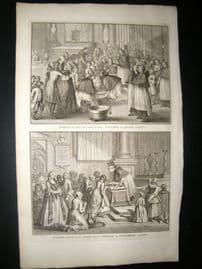 Picart C1730 Folio Antique Print. Religious Catholic Good Friday Ceremony