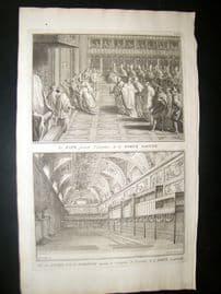Picart C1730 Folio Antique Print. Religious Catholic Holy Door