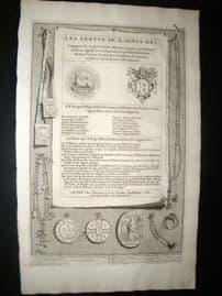 Picart C1730 Folio Antique Print. Religious Catholic Medals, Costume