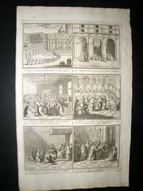 Picart C1730 Folio Antique Print. Religious Catholic Papal Scenes 37 Vatican