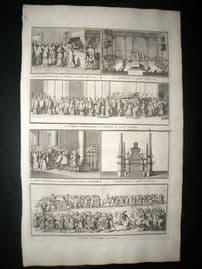 Picart C1730 Folio Antique Print. Religious Catholic Pope Procession etc