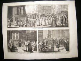 Picart C1730 LG Folio Antique Print. Religious Catholic Funeral Procession