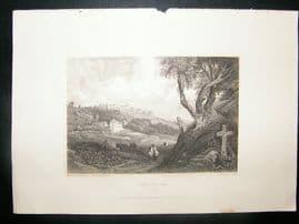 Portugal: 1834 Steel Engraving, Cork Convent, Cintra Print