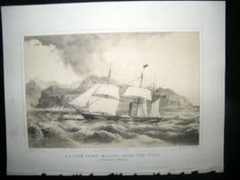 Portugal Madeira 1856 Print. US Steam Frigate Mississippi. Punta Tristao. Perry
