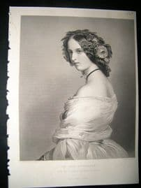 Pretty Ladies 1860 Steel Engraving. The Lady Constance