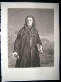 Pretty Ladies 1873 Steel Engraving. Il Penseroso