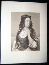 Pretty Lady 1867 Antique Print. Leila