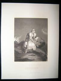 Pretty Lady 1867 Antique Print. Medona, Watching the return of Conrad