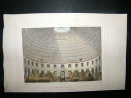 Pugin Paris 1831 Antique Hand Col Print. Halle au Ble, France