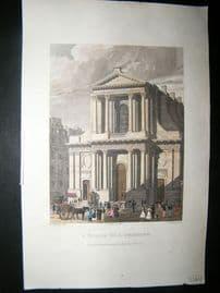 Pugin Paris 1831 Antique Hand Col Print. l'Eglise de l'Oratoire, France