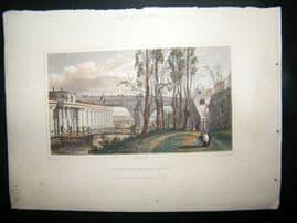 Pugin Paris 1831 Antique Hand Col Print. Rains Vigier, Pont Royal, France
