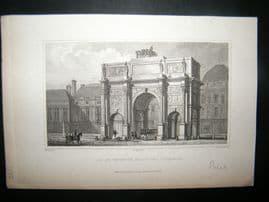 Pugin Paris 1831 Antique Print. Arc de Triomphe, France