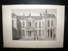 Pugin Paris 1831 Antique Print. British Embassy, Paris, France