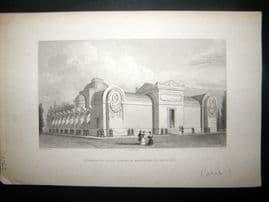 Pugin Paris 1831 Antique Print. Chapelle Expiatoire de Louis XVI, France