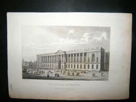 Pugin Paris 1831 Antique Print. Colonnade du Louvre, France