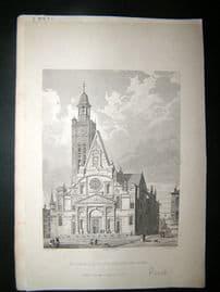 Pugin Paris 1831 Antique Print. Eglise de Saint-Etienne du Mont, France