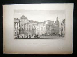 Pugin Paris 1831 Antique Print. Palais de Justice, France