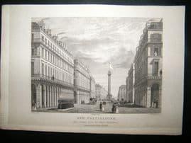 Pugin Paris 1831 Antique Print. Rue Castiglione, France