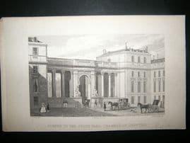 Pugin Paris 1831 Antique Print. Screen to the Courtyard, Chamber of Deputies