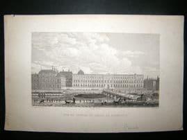 Pugin Paris 1831 Antique Print. Vue de Louvre, France