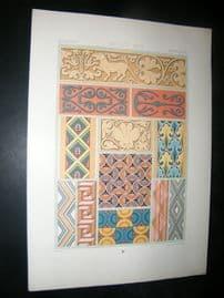 Racinet Ornament 1874 Folio Antiqu Print. Middle Ages #2