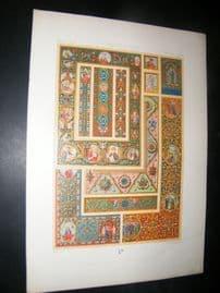 Racinet Ornament 1874 Folio Antiqu Print. Middle Ages #3