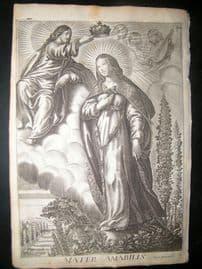 Ribadeneyra 1669 Folio Religious Print. Mater Amabilis. Angel, Jesus