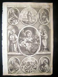 Ribadeneyra 1669 Folio Religious Print. Saints of December