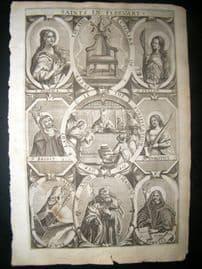 Ribadeneyra 1669 Folio Religious Print. Saints of February