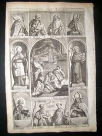 Ribadeneyra 1669 Folio Religious Print. Saints of June