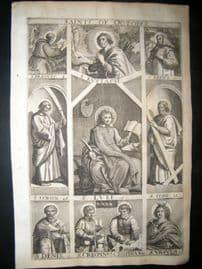 Ribadeneyra 1669 Folio Religious Print. Saints of October