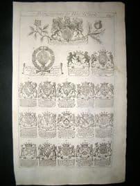 Richard Blome 1686 Folio Antique Print. Heraldry 1