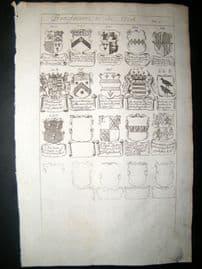 Richard Blome 1686 Folio Antique Print. Heraldry - 10