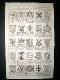 Richard Blome 1686 Folio Antique Print. Heraldry 2