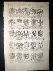 Richard Blome 1686 Folio Antique Print. Heraldry 4