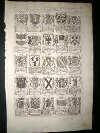 Richard Blome 1686 Folio Antique Print. Heraldry 5