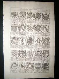 Richard Blome 1686 Folio Antique Print. Heraldry 6