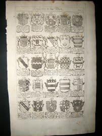 Richard Blome 1686 Folio Antique Print. Heraldry 7