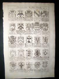 Richard Blome 1686 Folio Antique Print. Heraldry 8