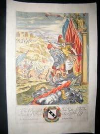 Richard Blome 1686 Hand Col Print. Bellona. Knight Cavalier