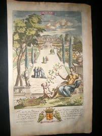 Richard Blome 1686 Hand Col Print. Flora. Garden, Botanical, Classical