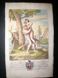 Richard Blome C1700 Hand Col Print. Nude Clubmen, Wrestlers. Gay interest